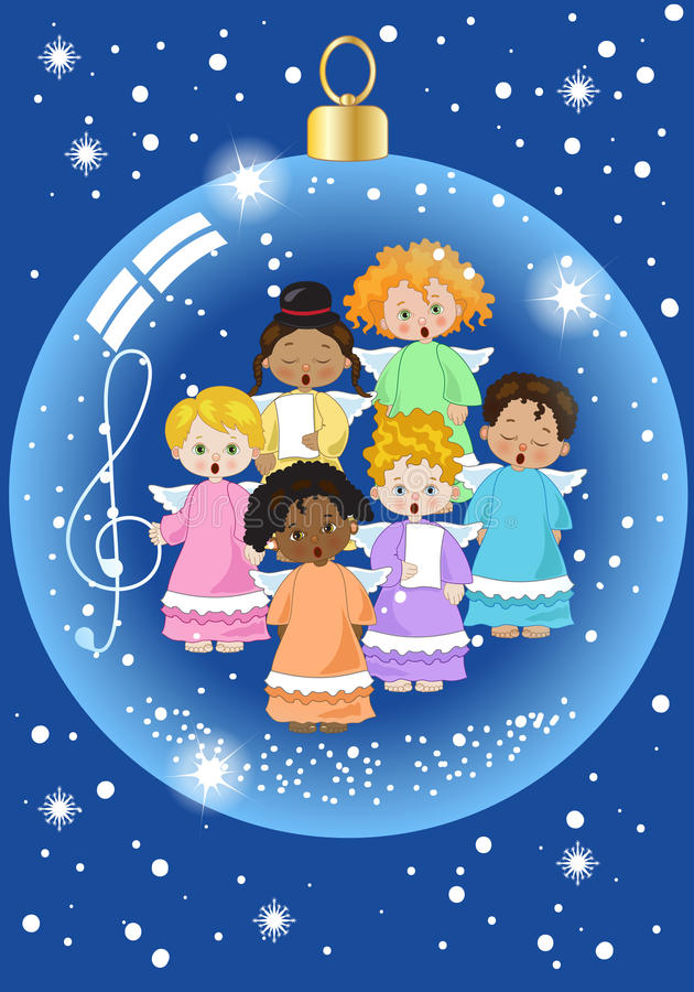 Small chorus of angels. A small chorus of angels of various ethnicities singing in a christmas ball stock illustration