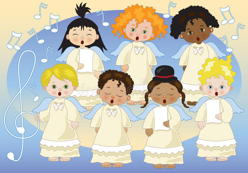 Small chorus of angels. A small chorus of angels of various ethnicities singing on music background royalty free illustration