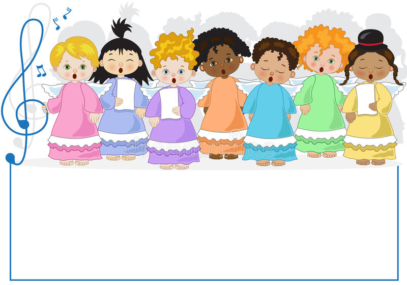 Small chorus of angels. A small chorus of angels of various ethnicities singing in chorus on white background stock illustration