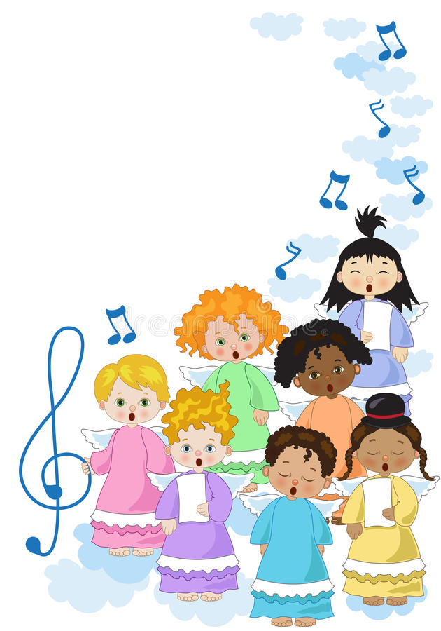 Small chorus of angels. A small chorus of angels of various ethnicities singing on white background royalty free illustration