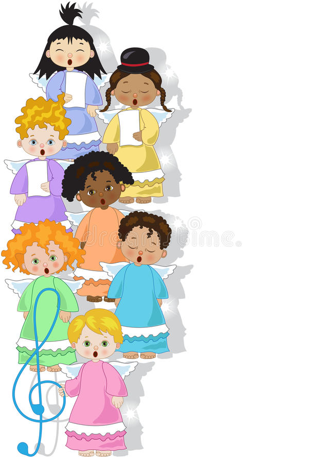 Small chorus of angels. A small chorus of angels of various ethnicities singing on white background vector illustration