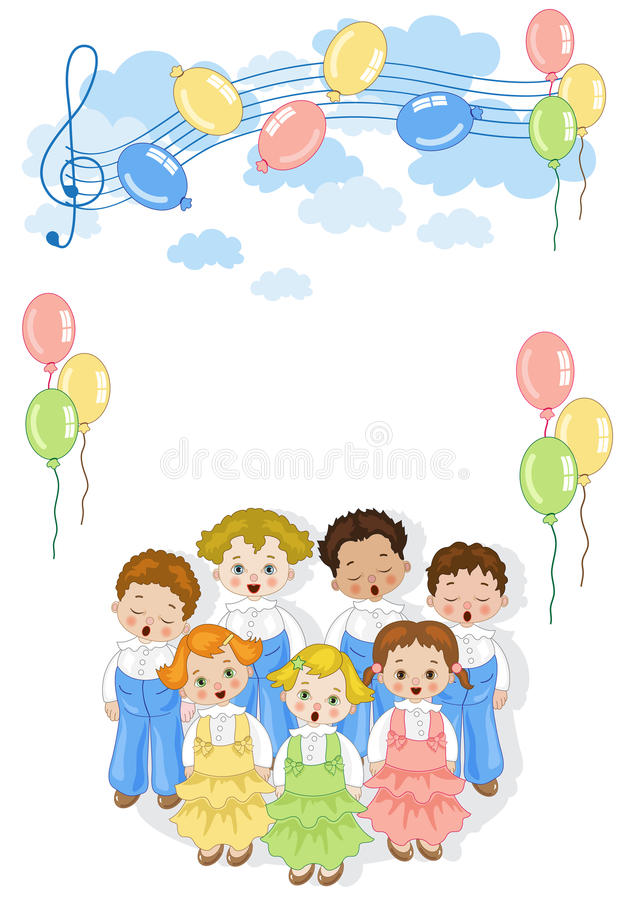 Small chorus. A group of children singing in chorus with colorful balloons and pentagram in the sky vector illustration