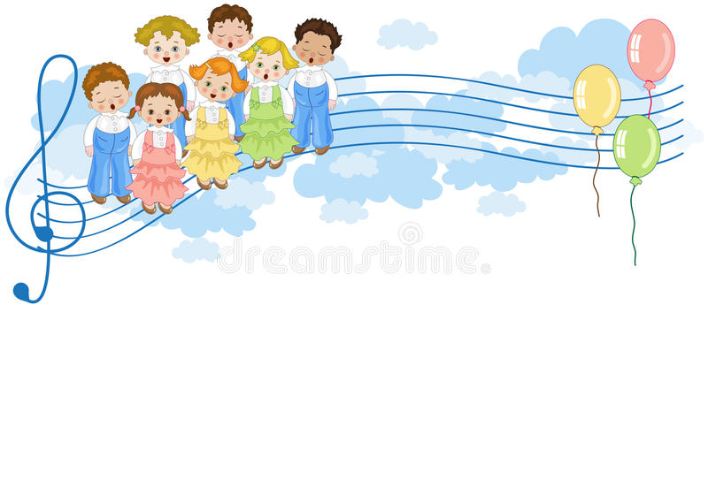 Small chorus. A group of children singing in chorus with colorful balloons on pentagram in the sky royalty free illustration