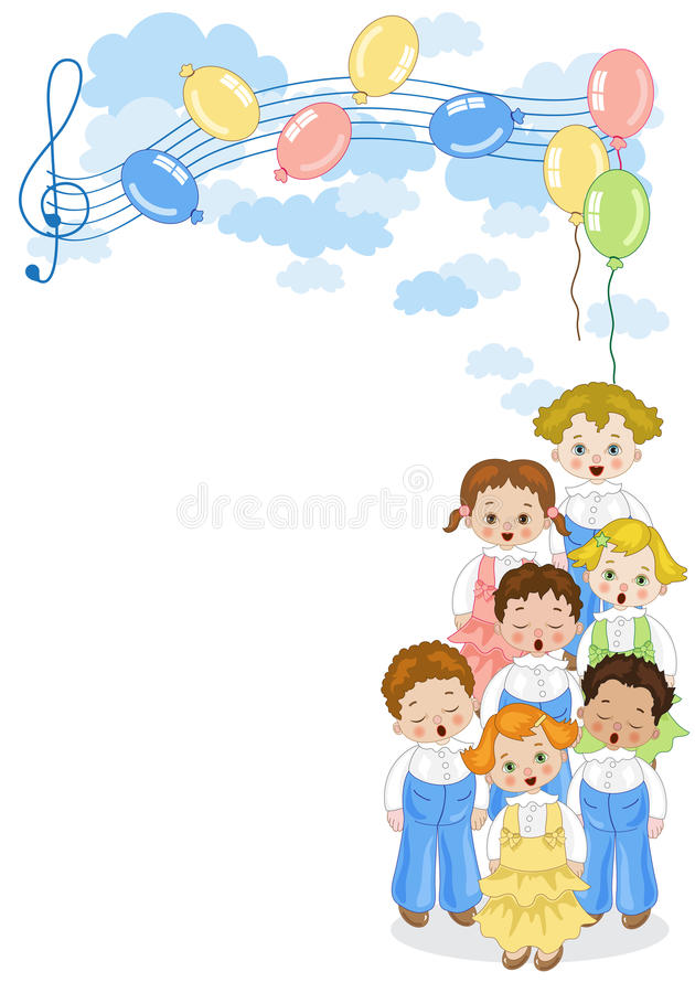 Small chorus. A group of children singing in chorus with pentagram and balloons in the background vector illustration