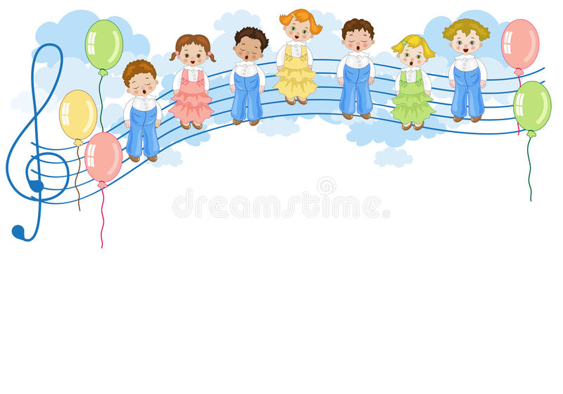 Small chorus. A group of children singing in chorus on pentagram with colorful balloons stock illustration