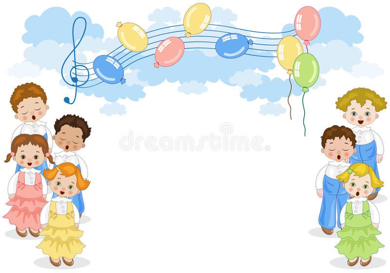 Small chorus. Two groups of children singing in chorus with pentagram and balloons in the background vector illustration
