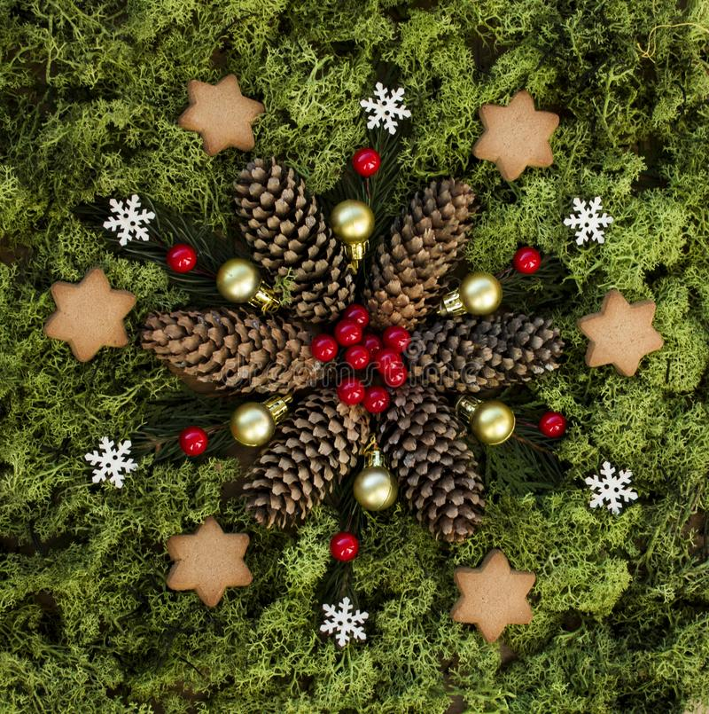 Small Christmas mandala with nature elements royalty free stock images