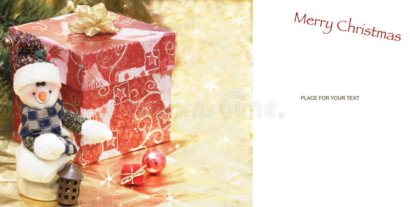 Small Christmas Ornament With Gift Royalty Free Stock Image