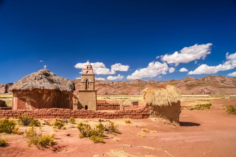 Small chuch tower in remote bolivian village. Small old chuch in a small bolivian village on the way from Curahuara to La Junta near Oruro, Bolivia stock photography