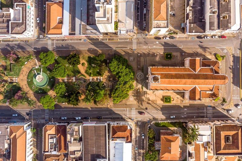 Small church from above. A miniatura de um centro de cidade stock photography