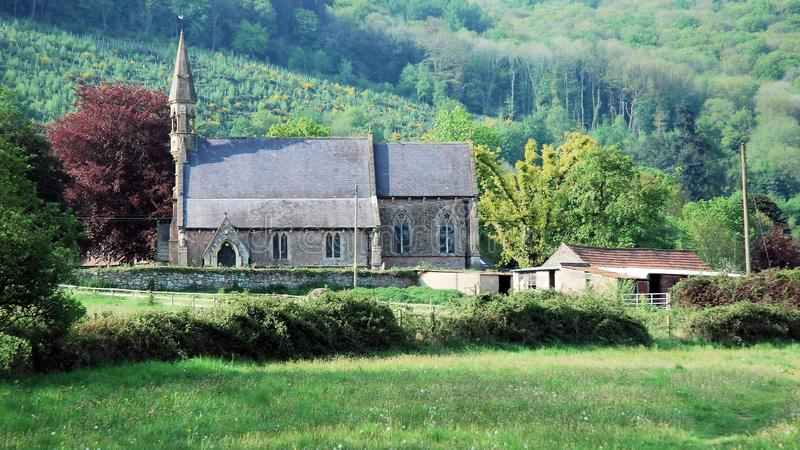 South Wales - Small church with bell tower, rural location. South Wales, Small church with bell tower, rural location, grassland, hedges, trees, Llandogo, Wye stock photos