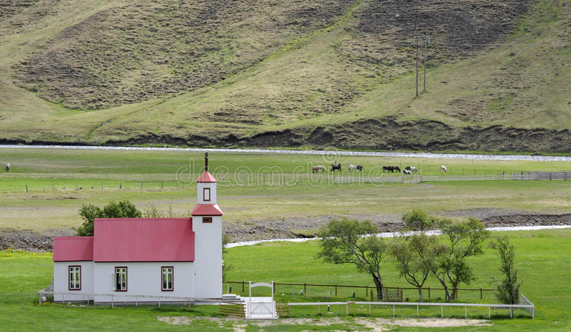 Download Small Church In Countryside Iceland Stock Image - Image of religion, horses: 31893081