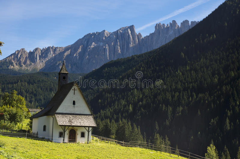 Small church in Dolomites, Italy stock image