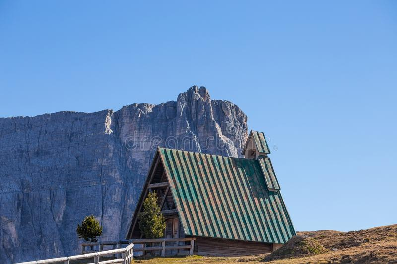 The small church at Giau pass, an alpine Dolomites pass at 2236 metres in Belluno province that connects the villages of Colle San. Ta Lucia and Selva di Cadore stock photos