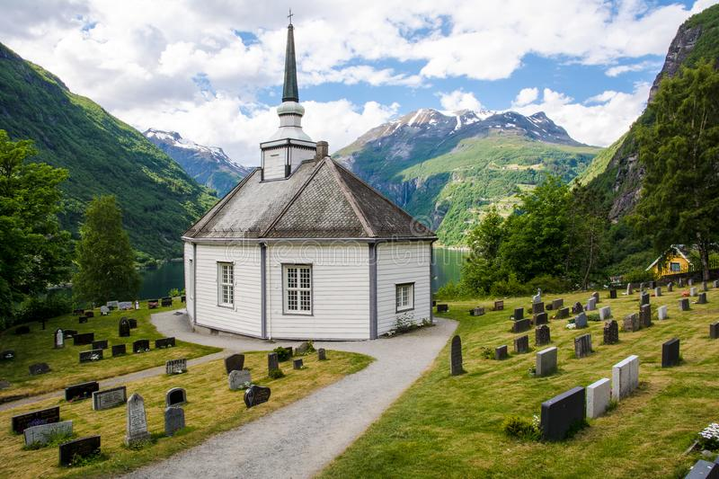 Small chapel and a graveyard. Geiranger - Norway royalty free stock photo