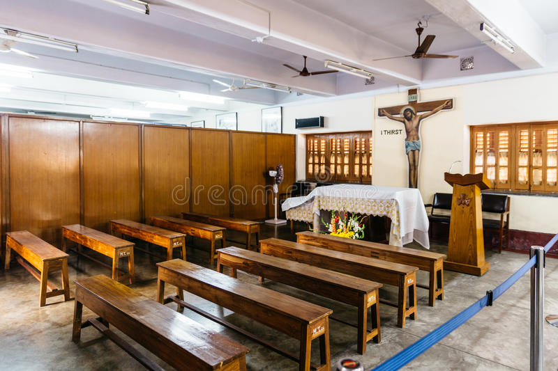Small church in the Missionaries of Charity in Kolkata, India. Small church in the Missionaries of Charity in Kolkata, India royalty free stock image