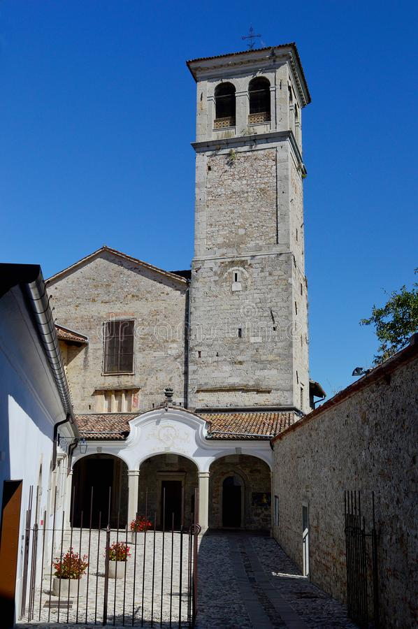 Lombard Temple, Cividale Del Friuli Italy. The small church of Oratorio di Santa Maria in Valle also known as Lombard Temple, next to the Natisone river, is a stock images