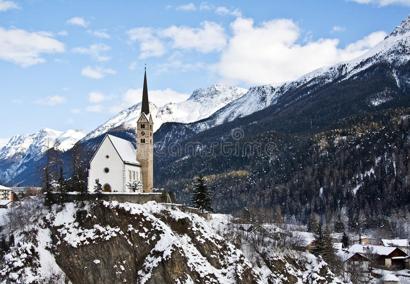 Small Church In Scuol Royalty Free Stock Photos