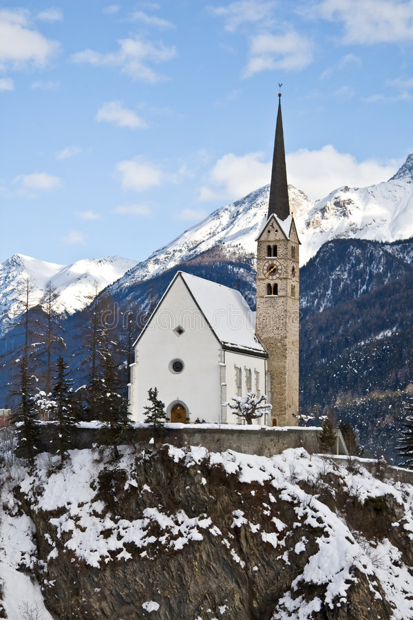 Small Church In Scuol Royalty Free Stock Photography