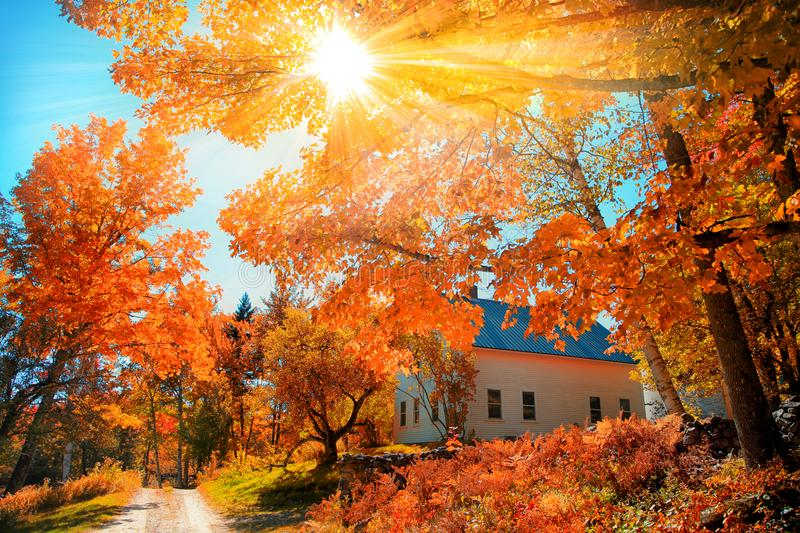 Small church in typical New England town. With fall foliage stock images