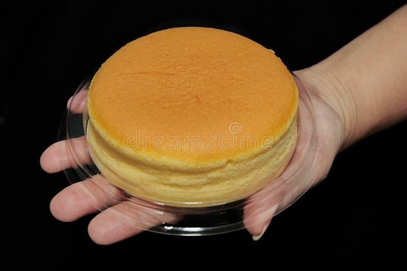 Hokkaido milk soft cheesecake placed on the hand. stock photo