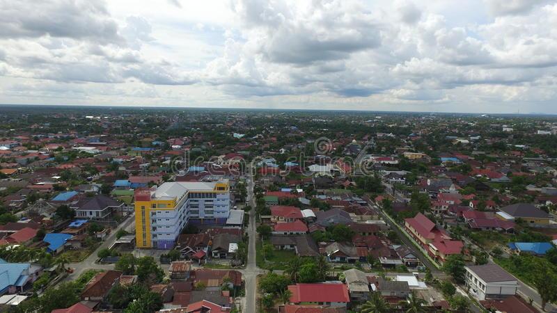 Small City. Palangkaraya city from a bird point of view, taken by drone stock images