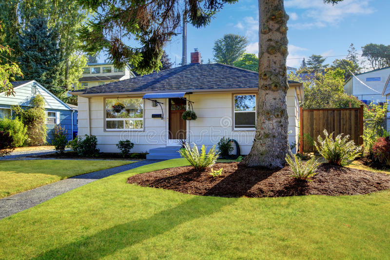 Small clapboard siding house. View of walkway. Northwest, USA stock images