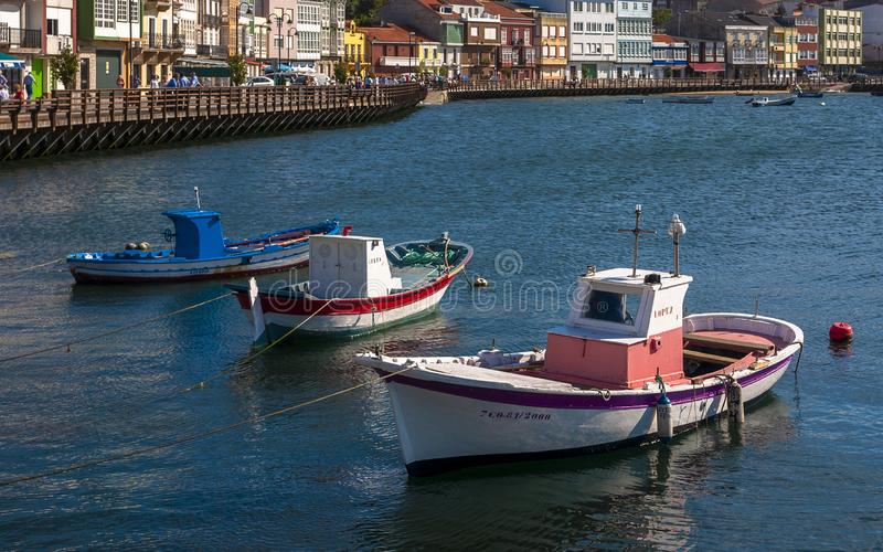 Small Classic Wooden Fishing Boats in the Town of Mugardos Galicia royalty free stock image