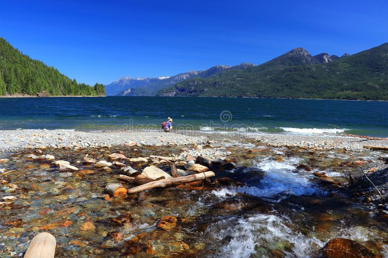 Fletcher Creek flowing into Kootenay Lake near Kaslo, Fletcher Beach Provincial Park, British Columbia, Canada stock photos
