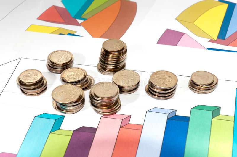 Download Small Coins And Schedule Growth. Stock Image - Image: 20597893