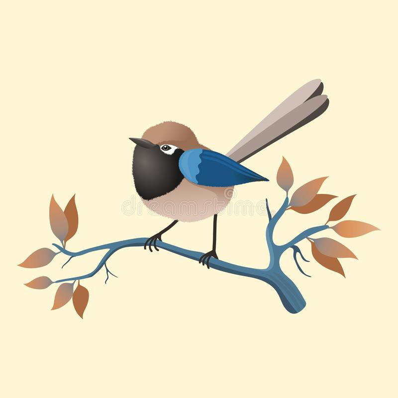 A small colored bird on a branch with some leaves. Frame with floral design. An affectionate and small colored bird on a branch with some leaves.Illustration vector illustration