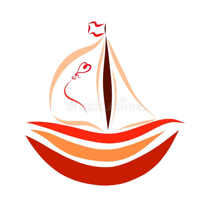 A small colorful boat with a sail and a balloon in the shape of. A heart stock illustration