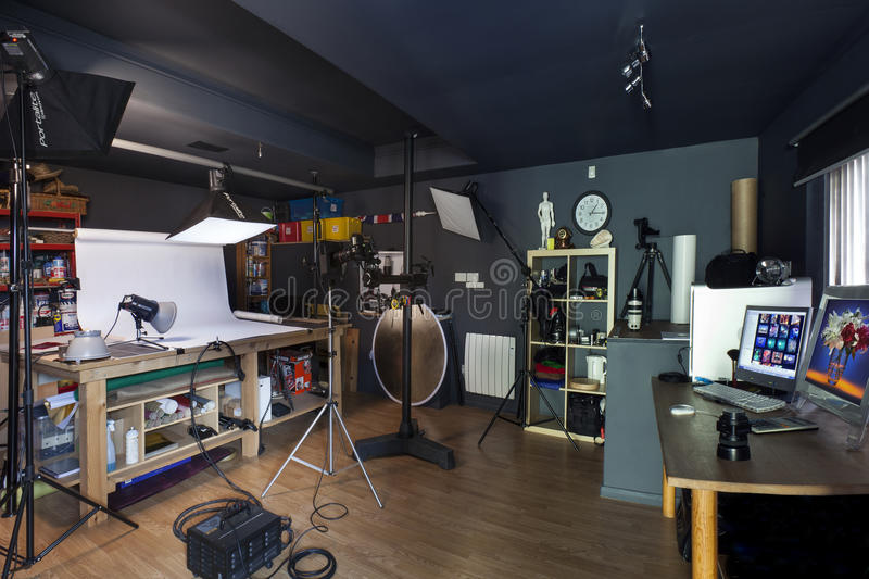 Photographic Studio. Interior of a small commercial photographic studio stock image