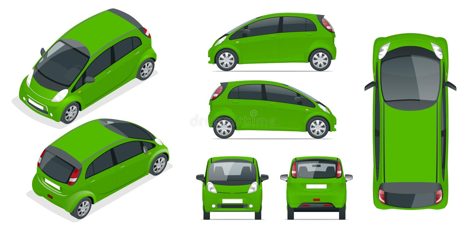 Small Compact Electric vehicle or hybrid car. Eco-friendly hi-tech auto. Easy color change. Template vector isolated on stock illustration