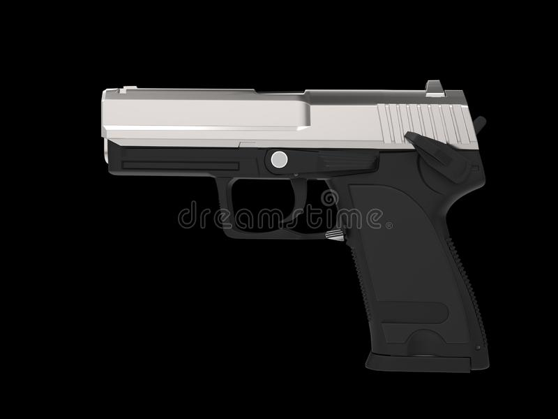 Small and compact modern handgun - chrome top part stock illustration