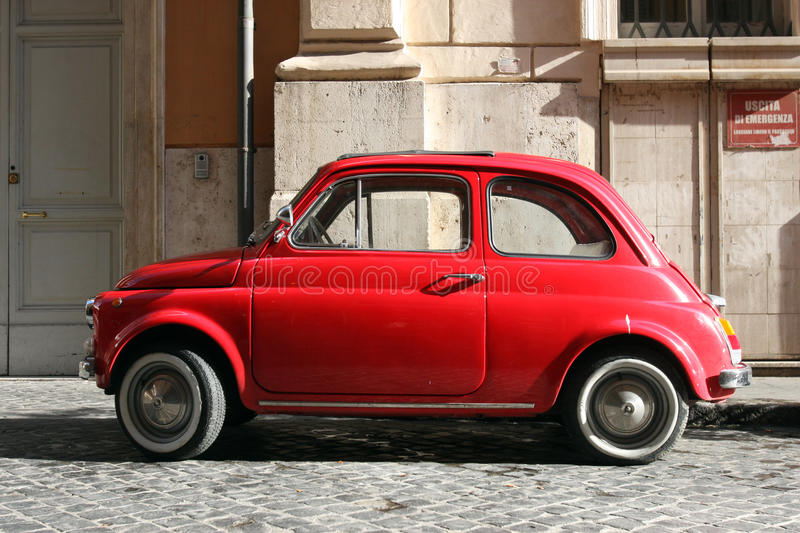 Small compact vintage car stock photo