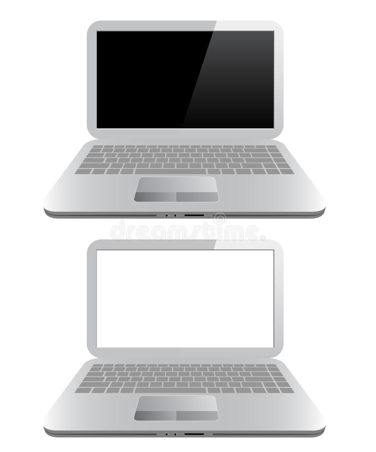Small computer - laptop or notebook. Unique small computer - laptop or notebook, isolated on white background royalty free illustration