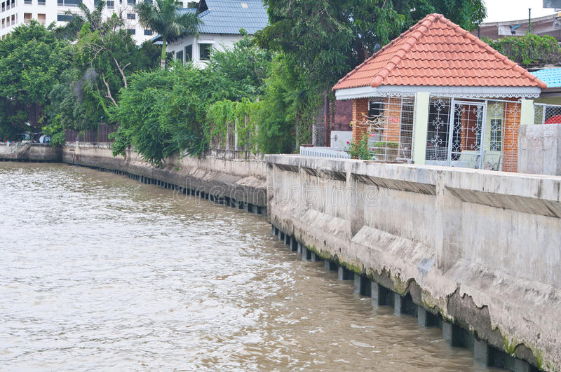 Small concrete dam along the river, Thailand royalty free stock photography