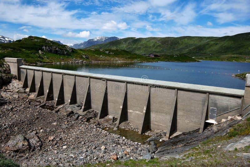 Small concrete dam in norway stock image