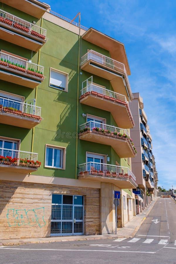 Small corner apartment block in Taragona. Small corner apartment block in downtown Taragona, Catalonia, Spain stock photo