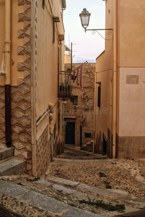 A small corner in the city. In the historic part of town a narrow staircase to the houses royalty free stock photo