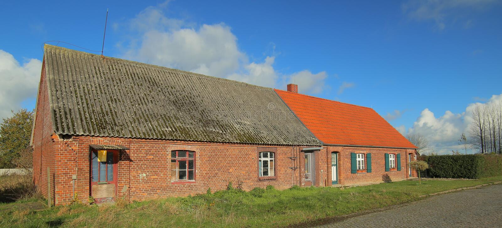 Download Small Cottage Houses Listed As Monument In The Town Of Poggendorf, Mecklenburg-Vorpommern, Germany Stock Image - Image of gray, duplex: 103816249