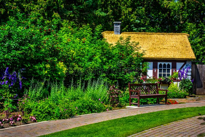 Small cottage in public access parkland. stock images