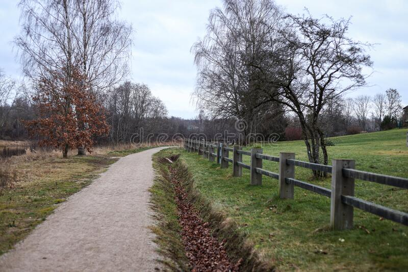 Small countryside walking, hiking tourism path, located in Latvia city Kuldīga. Photo taken on warm winter day in December stock images