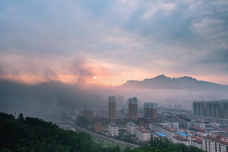 Xinglong is a small county town in northern China stock images