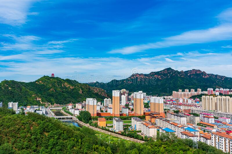 Xinglong is a small county town in northern China stock photography