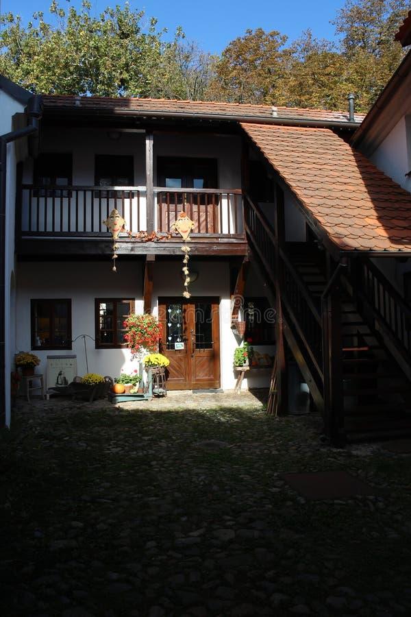 Small courtyard of family house in centre of České Budějovice, South Bohemia. Czech republic royalty free stock photos