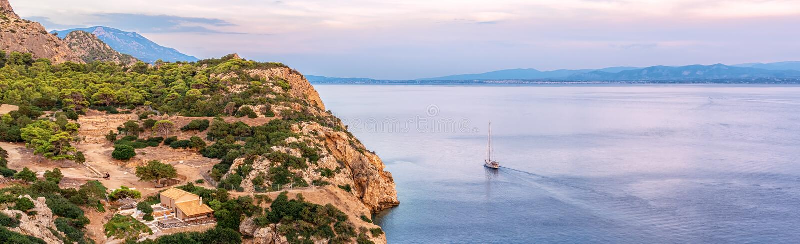 The small cove of the Corinthian gulf near Heraion of Perachora, Greece.  stock photography