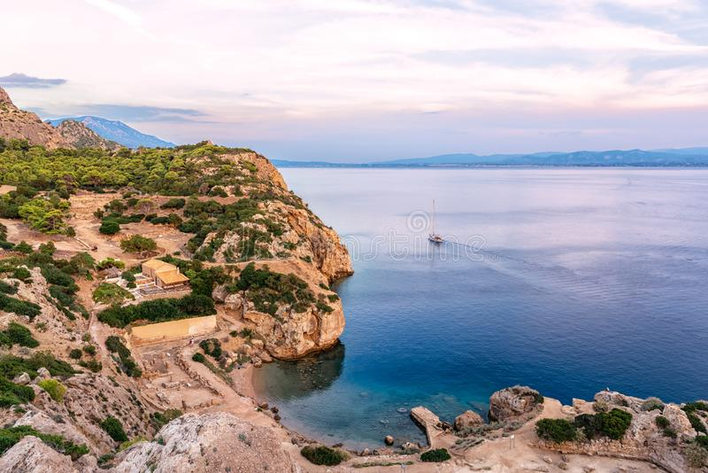 The small cove of the Corinthian gulf near Heraion of Perachora, Greece royalty free stock photo