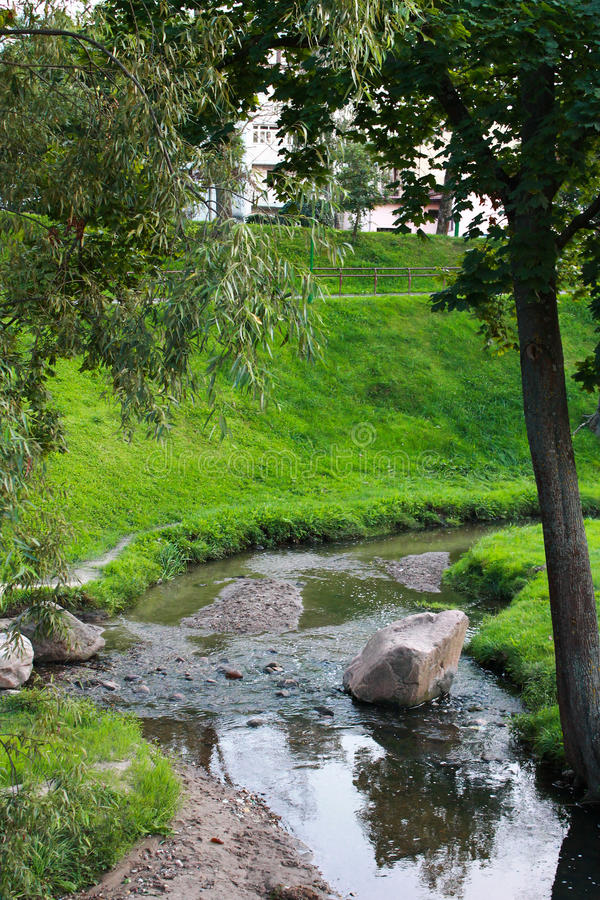 A small creek in the park stock image